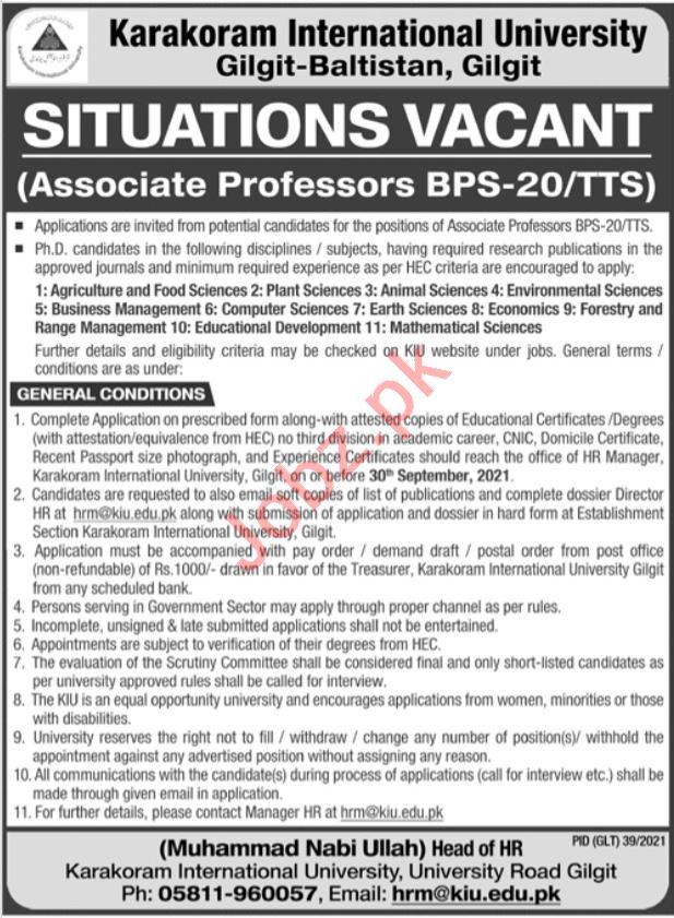 Karakoram International University KIU Teaching Jobs 2021