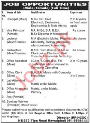 New City school & College Tipu Road Rawalpindi Jobs 2021