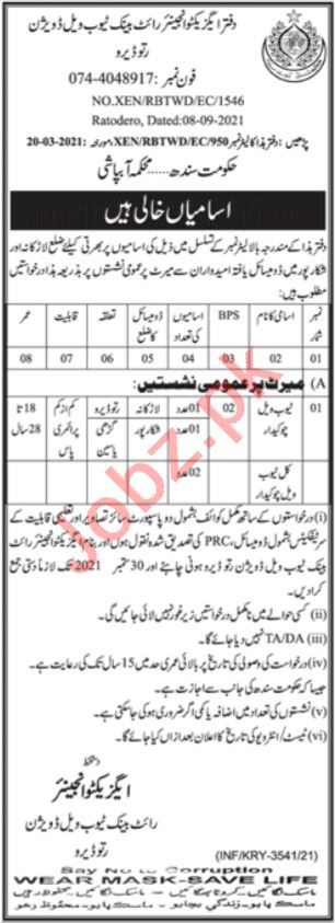 Right Bank Tubewell Division Ratodero Jobs for Watchman