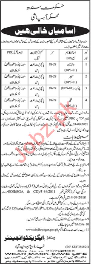 Irrigation Department Feeder Division Sindh Jobs 2021