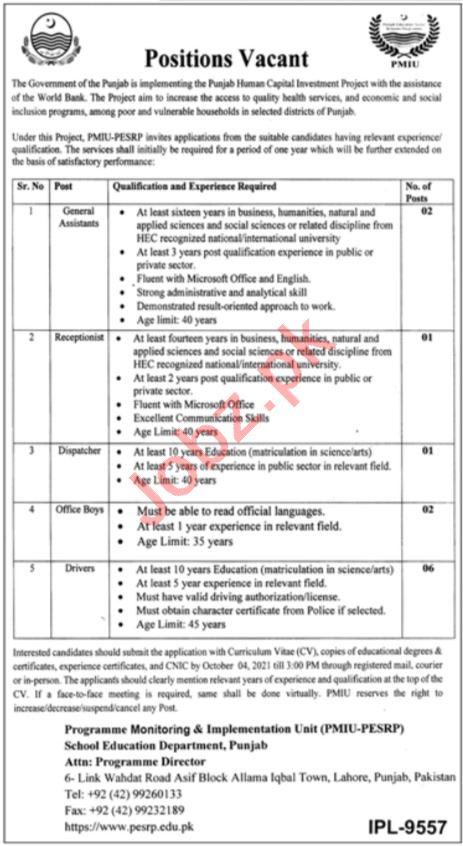 Punjab Education Sector Reforms Program PESRP Jobs 2021