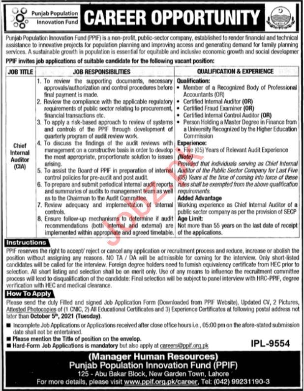 Punjab Population Innovation Fund PPIF Lahore Jobs 2021