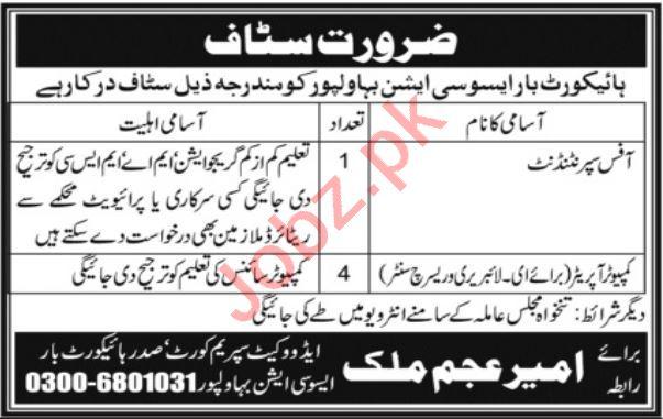 High Court Bar Association Bahawalpur Jobs 2021