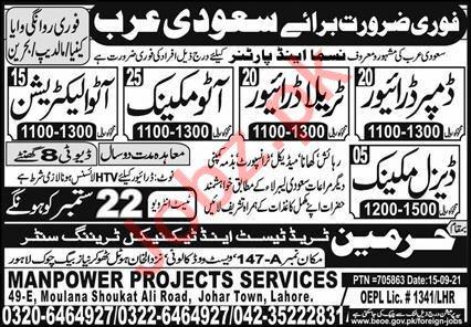 Dumper Driver & Auto Mechanic Jobs 2021 in Saudi Arabia