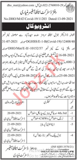 District Health Officer DHO Matiari Jobs 2021 for Doctor