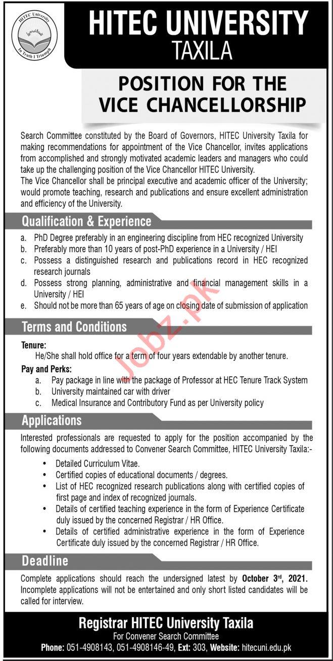 HITEC University Taxila Jobs 2021 for Vice Chancellor