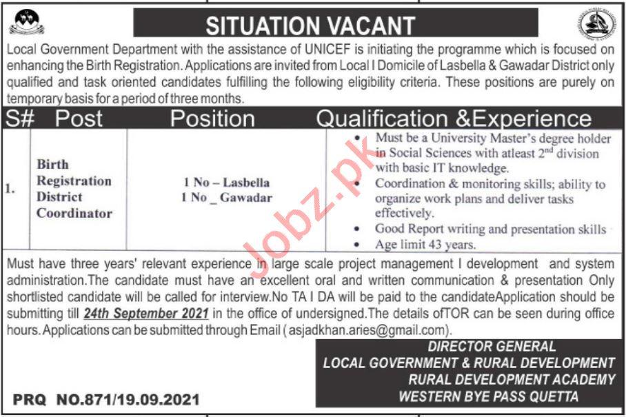 Balochistan Rural Development Academy BRDA Quetta Jobs 2021