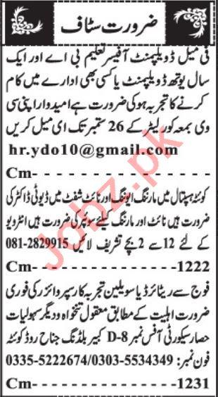 Female Development Officer & Duty Doctor Jobs 2021 in Quetta