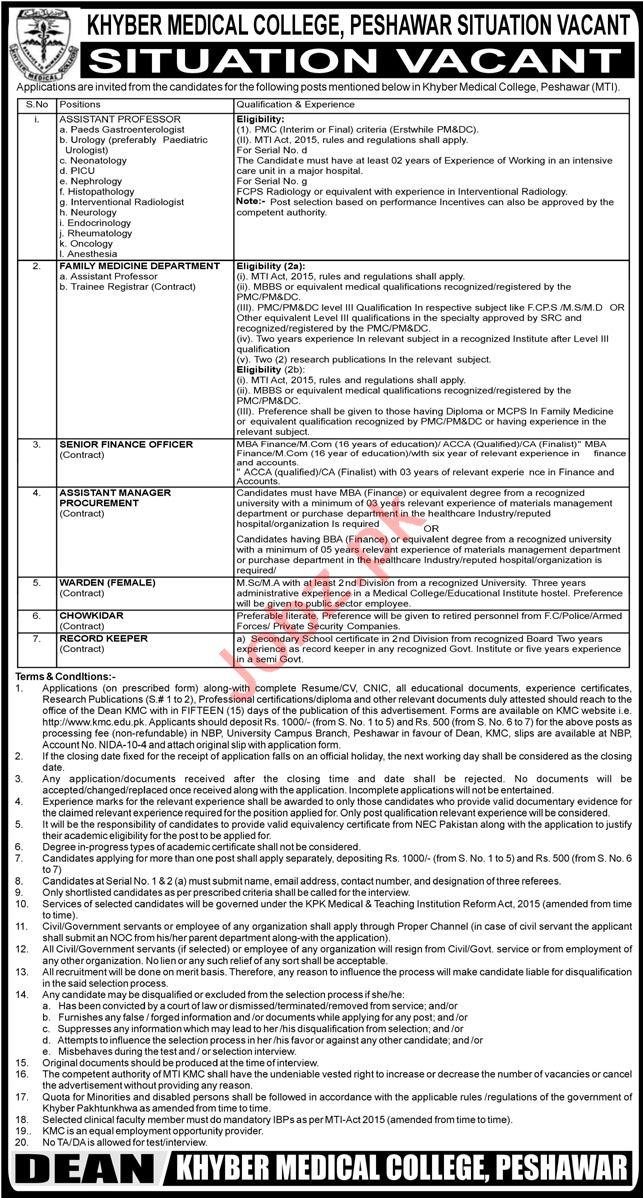 Khyber Medical College KMC MTI Peshawar Jobs 2021