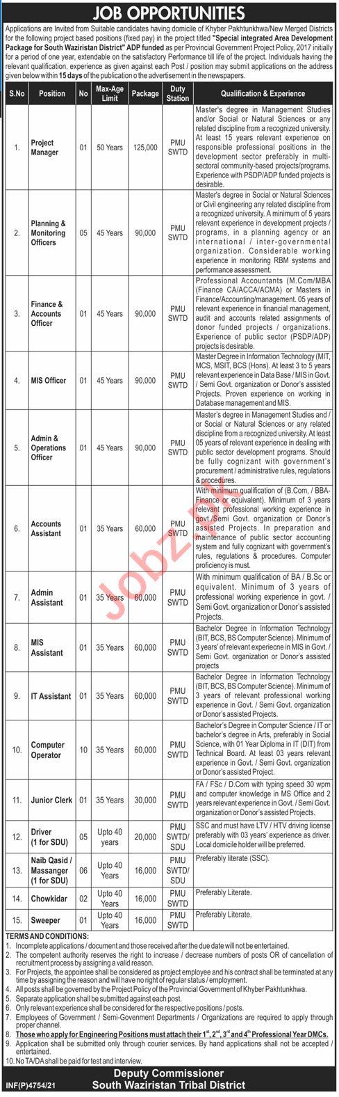 Deputy Commissioner South Waziristan Jobs 2021 for Clerks