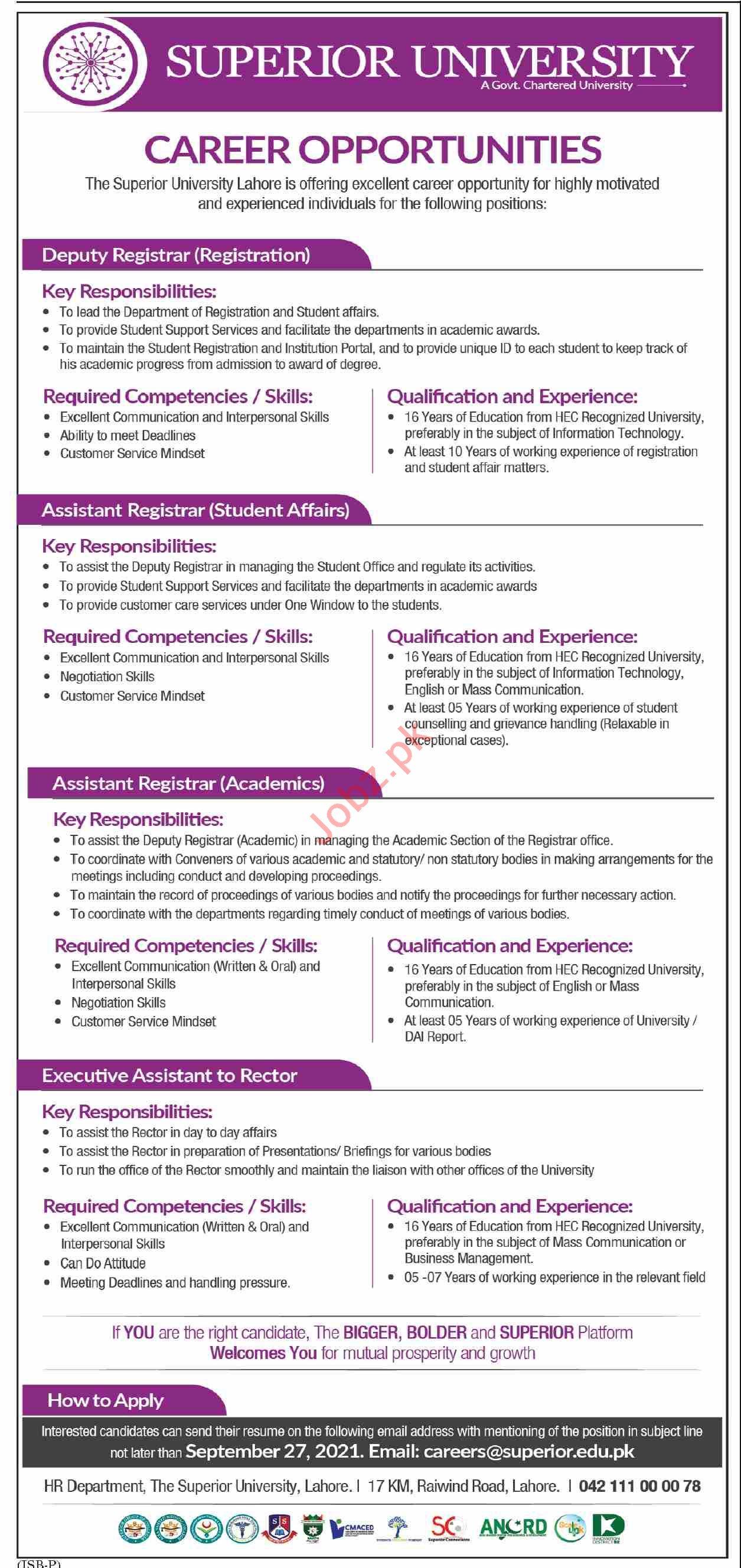 Superior University Lahore Jobs 2021