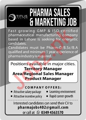 Pharma Sales & Marketing Jobs 2021 In Lahore