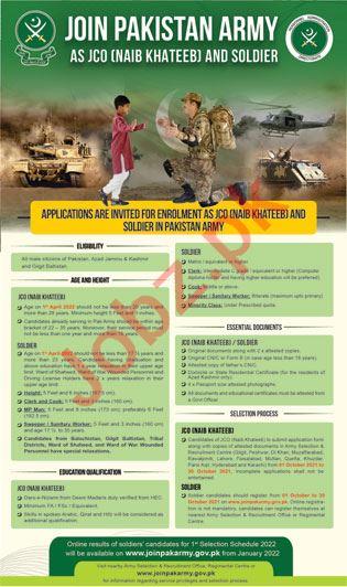 Join Pakistan Army AS JCO Naib Khateeb and Soldier