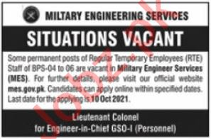 Military Engineer Services MES Jobs 2021 in Rawalpindi