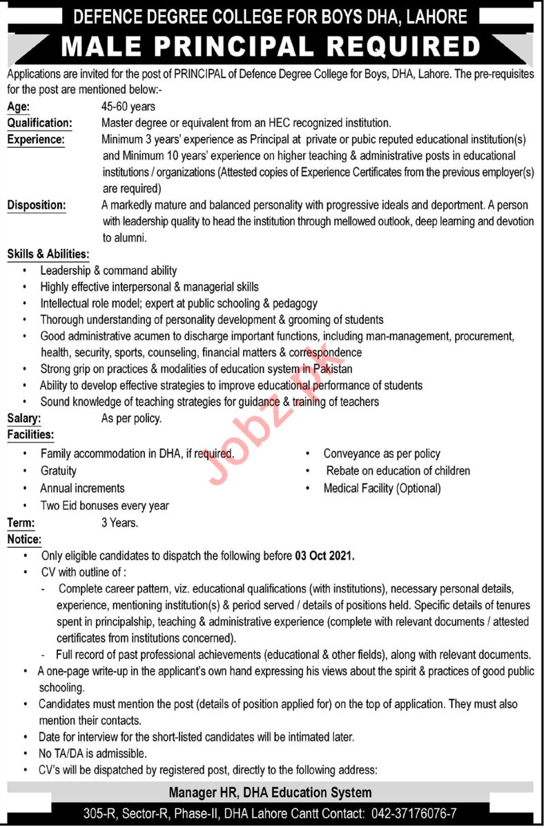 Defence Degree College For Boys Job 2021 For Principal
