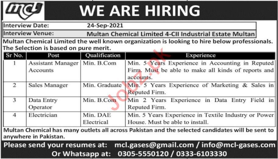 Multan Chemical Limited MCL Jobs 2021