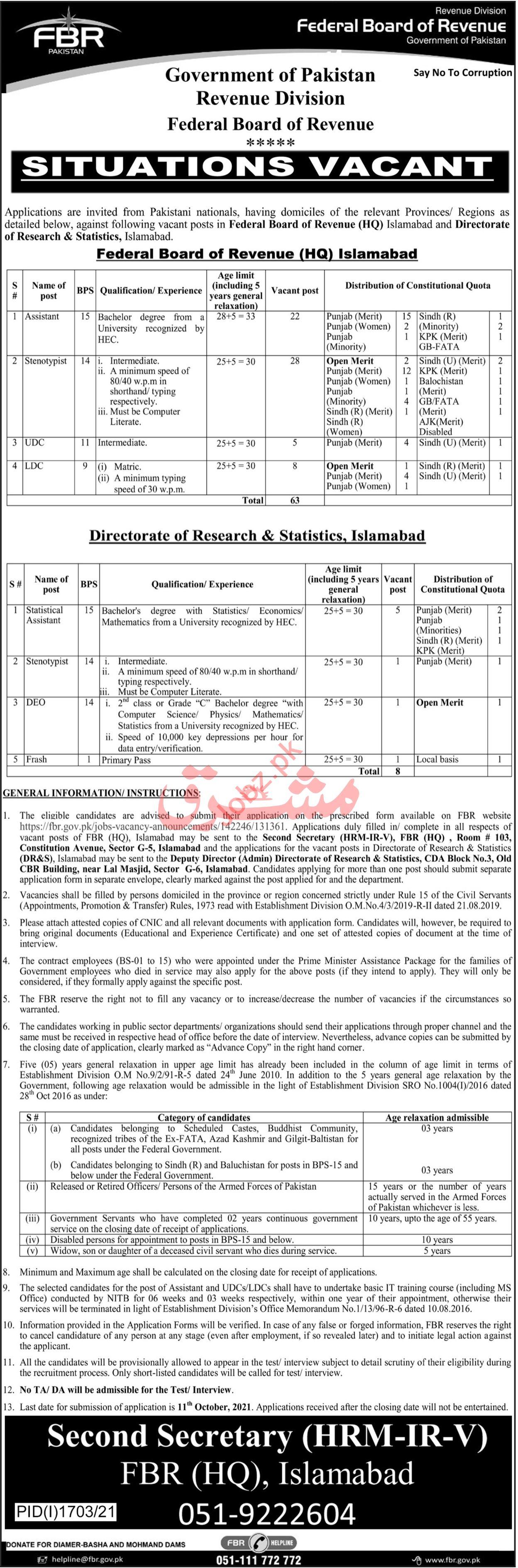 Federal Board of Revenue FBR Jobs 2021 In Islamabad