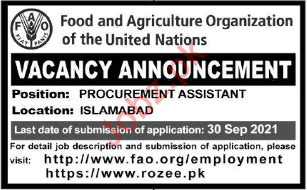 Food and Agriculture Organization UN Jobs 2021