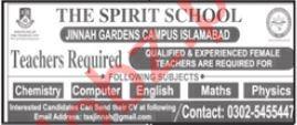 The Spirit School Jinnah Garden Campus Jobs 2021