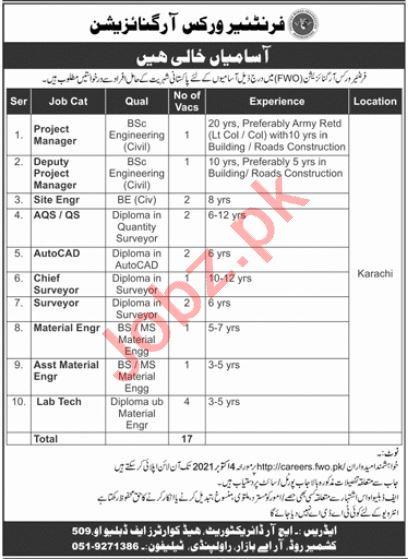 Frontier Works Organization FWO Jobs 2021 In Karachi