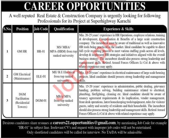 Real Estate & Construction Company Jobs 2021 In Karachi