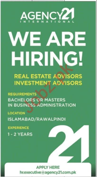 Agency 21 Jobs 2021 in Rawalpindi