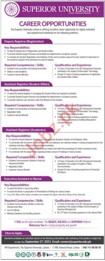 Superior University Jobs 2021 Lahore