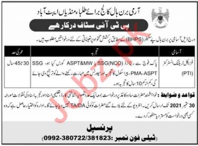 Army Burn Hall College for Boys Abbottabad Jobs 2021