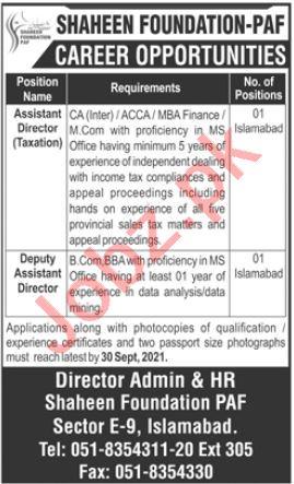 Shaheen Foundation PAF Islamabad Jobs 2021