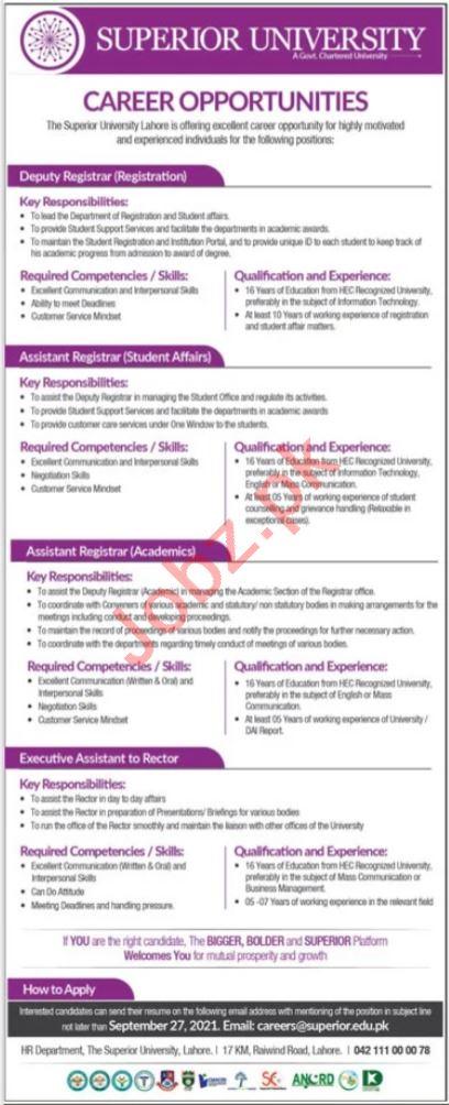 Superior University Lahore Jobs 2021 For Management Staff