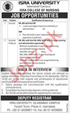Isra University Islamabad Campus Jobs 2021