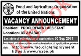 Food and Agriculture Organization Job 2021 In Islamabad