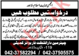 Anjuman i Himayat i Islam NGO Jobs 2021 In Lahore