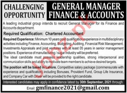 General Manager Finance & Accounts Job 2021 In Lahore