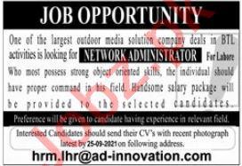 Network Administrator Job 2021 In Lahore