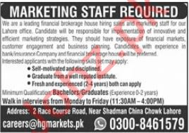 Marketing Staff Jobs 2021 In Lahore Office