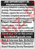 Pharmaceutical Company Jobs 2021 in Rawalpindi