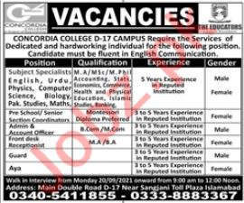 Concordia College Jobs 2021 in Islamabad