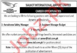 Sialkot International Airport Limited Jobs 2021