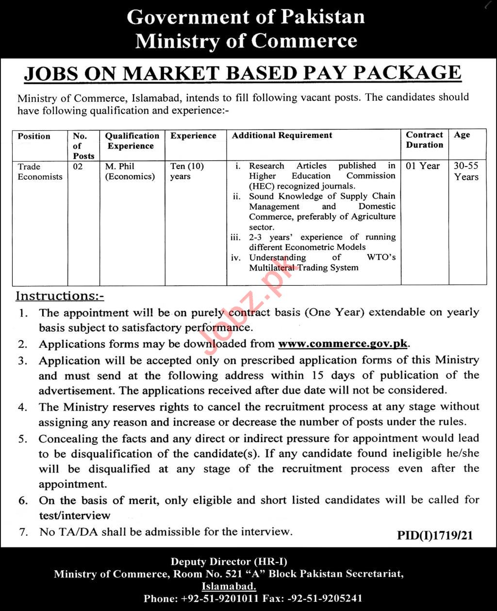 Ministry of Commerce Jobs 2021 in Islamabad