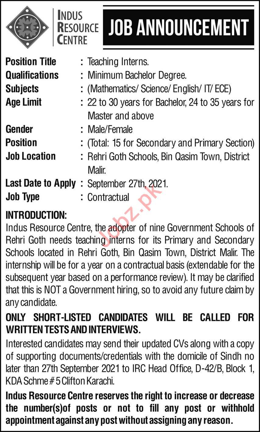 Indus Resources Centre Jobs 2021 in Karachi