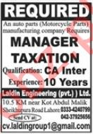 Manager Taxation Job 2021 In Lahore