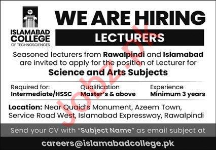Islamabad College of Technosciences Jobs 2021