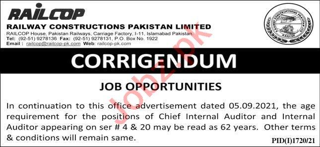 Railway Construction Pakistan Limited Jobs 2021