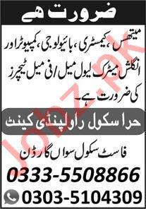 Hira School Rawalpindi Cantt Jobs 2021