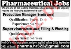 Pharmaceutical Jobs 2021 In Lahore