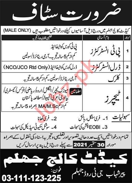 Cadet College Jhelum Jobs 2021 for Instructor