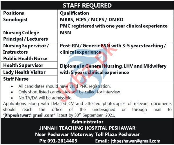 Jinnah Teaching Hospital Peshawar Jobs 2021