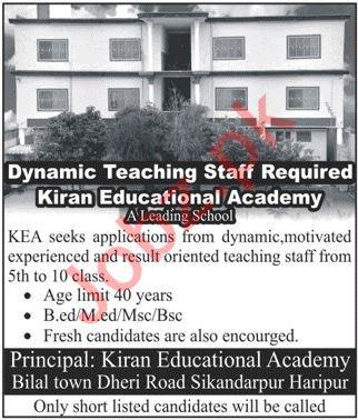 Kiran Educational Academy Jobs 2021 In Haripur KPK