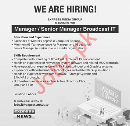 Express News Manager Broadcasting IT Jobs 2021